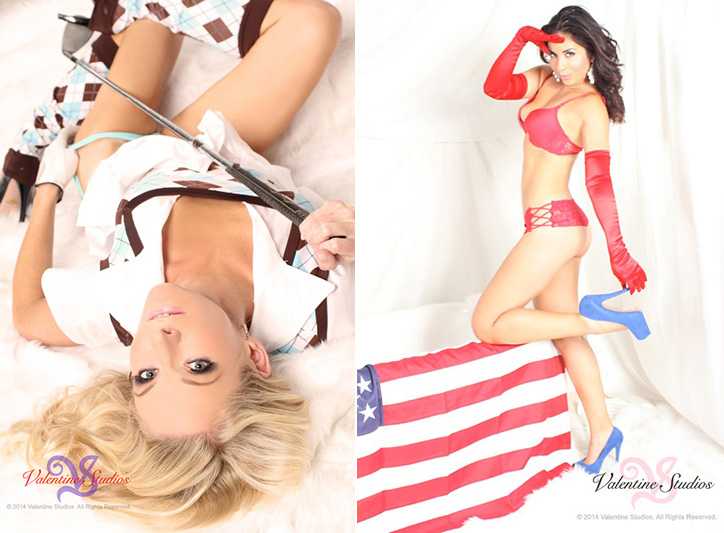 Take action with sporting and patriotic poses in your boudoir photo shoot at Valentine Studios.