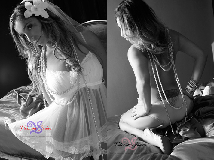 Gorgeous woman looks fabulous in her sexy baby doll cami, lingerie, and draped in pearls for her boudoir photo shoot at Valentine Studios.