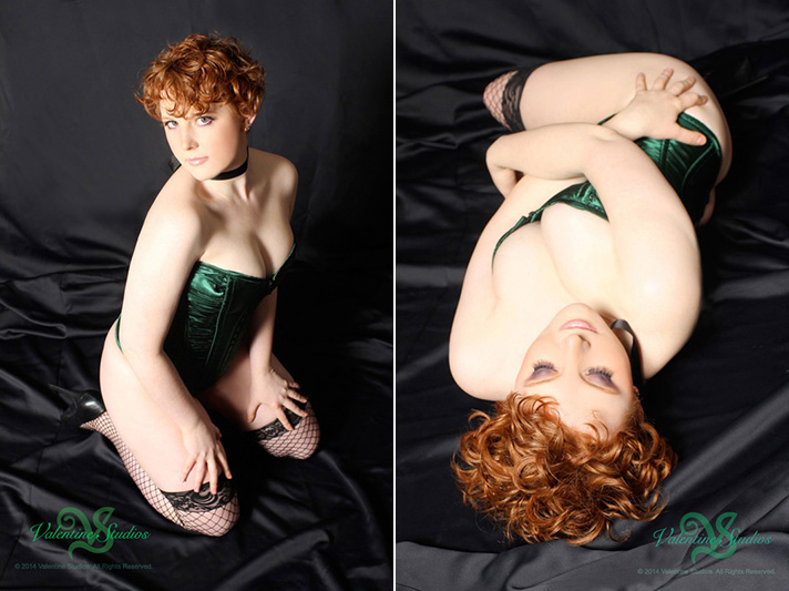 This gorgeous wavy haired redhead strikes a sexy poses during her classic boudoir photo session.