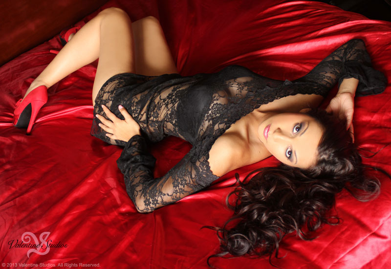 You'll be a goddess in your beautiful sheer lace long sleeve cami dress posing for your boudoir photos.