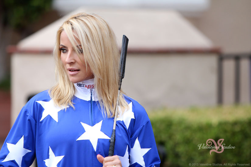 Location photo shoot with female jockey Chantal Sutherland in the paddock at the Del Mar Race Track.