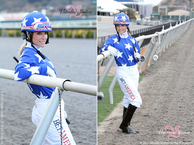 Location photo shoot with female jockey Chantal Sutherland along the rail at the Del Mar Race Track.