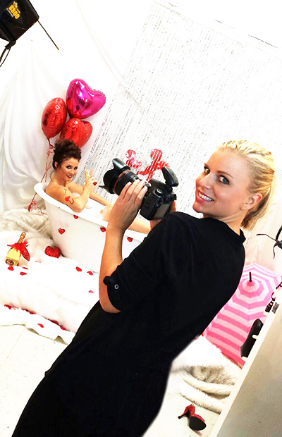 Meg in studio for a Valentine's Day fashion shoot.